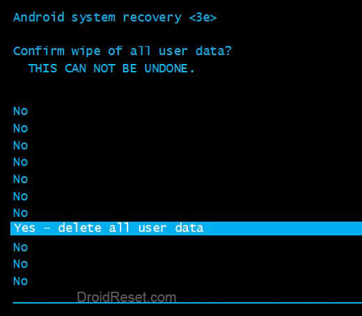 Alcatel A502DL Factory Reset