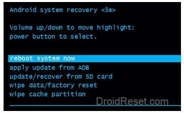 reboot system now Recovery Mode