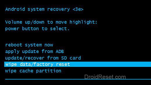 wipe data/factory reset Recovery Mode